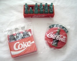 Coca-Cola Magnets Lot of 3  NOS 1990's Cases and Bottles and Coke Button  - $19.99