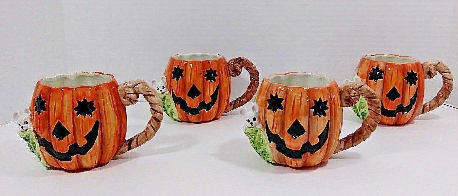 vintage oci fitz floyd halloween pumpkin mugswfaces set of 4 1989