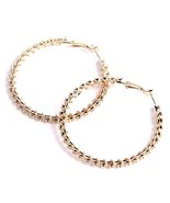 YESLADY Hoops & Loops Gold Plated Chain Wrap Crystal Hoop Earrings, Big ... - $9.08