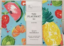 "Set of 4 Same Fabric Placemats (13""x18"") TROPICAL FRUITS,WATERMELON,CHER... - $19.79"