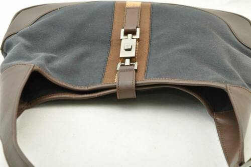 GUCCI Sherry Line Canvas Shoulder Bag Black Brown Auth rd011