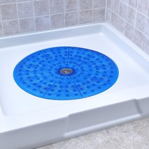 SlipX Solutions Blue Round Shower Stall Mat Provides Generous Coverage & - $21.30
