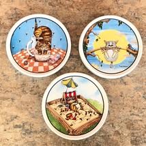 Set of 3 Gary Patterson Ceramic Cat Lovers Coasters - Clay Design Sandbo... - $19.78