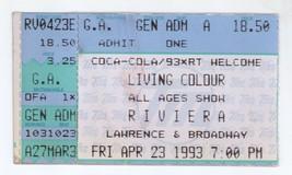 RARE Living Colour 4/23/93 Chicago IL Riviera Ticket Stub! Color - $3.95