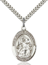 Sterling Silver St. Gabriel the Archangel Pendant 1 x 3/4 24 inch Chain - $56.70