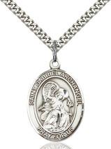 Sterling Silver St. Gabriel the Archangel Pendant 1 x 3/4 24 inch Chain - $59.54