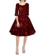 26 RED ROSE FLORAL CUFFED 3/4 SLEEVE CIRCLE SKIRT DRESS LIKE TORRID PLUS... - $37.00