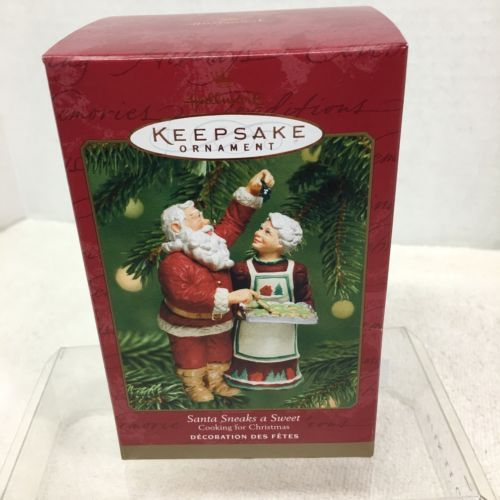 Primary image for 2001 Santa Sneaks a Sweet Cook Hallmark Christmas Tree Ornament MIB Price Tag H5