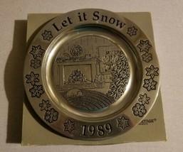 Wilton Armatale Pewter Decorative Christmas Plate Let It Snow 1989 - $19.99