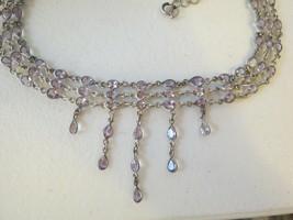 VTG Bezel Set Crystal Necklace Lavender Choker Silvertone Dangle Fringe ... - $49.49