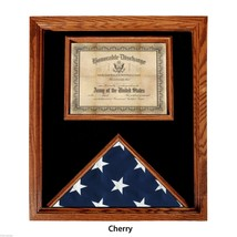 USA MADE SOLID OAK WOOD CHERRY FINISH  FLAG  DOCUMENT DISPLAY CASE SHADO... - $234.64