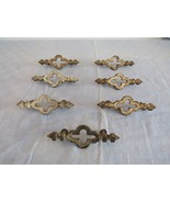 "Lot 7 Matching Antique Vintage Brass Drawer Pulls Handles 3"" Centers Sha... - $74.28"