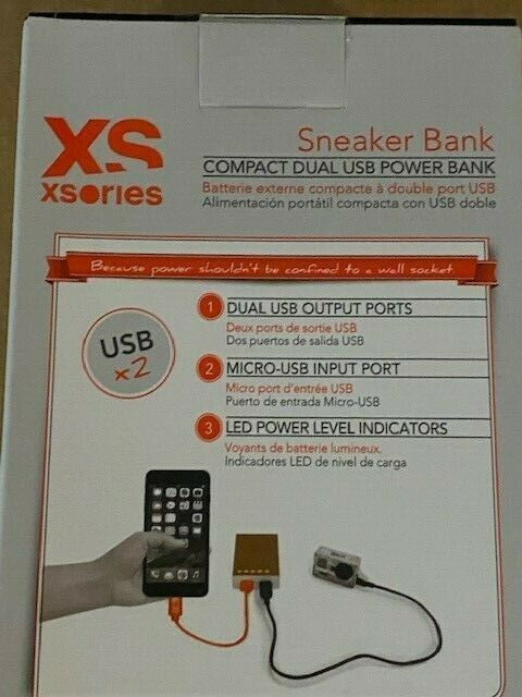 XSories Sneaker Bank White Compact Dual USB Power Bank 9000mAh Brand New