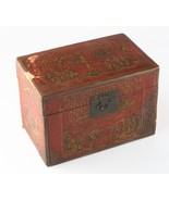 Antique Chinese Red & Gold Lacquer Wooden Box Hand-Painted Qing Dynasty ... - $989.99