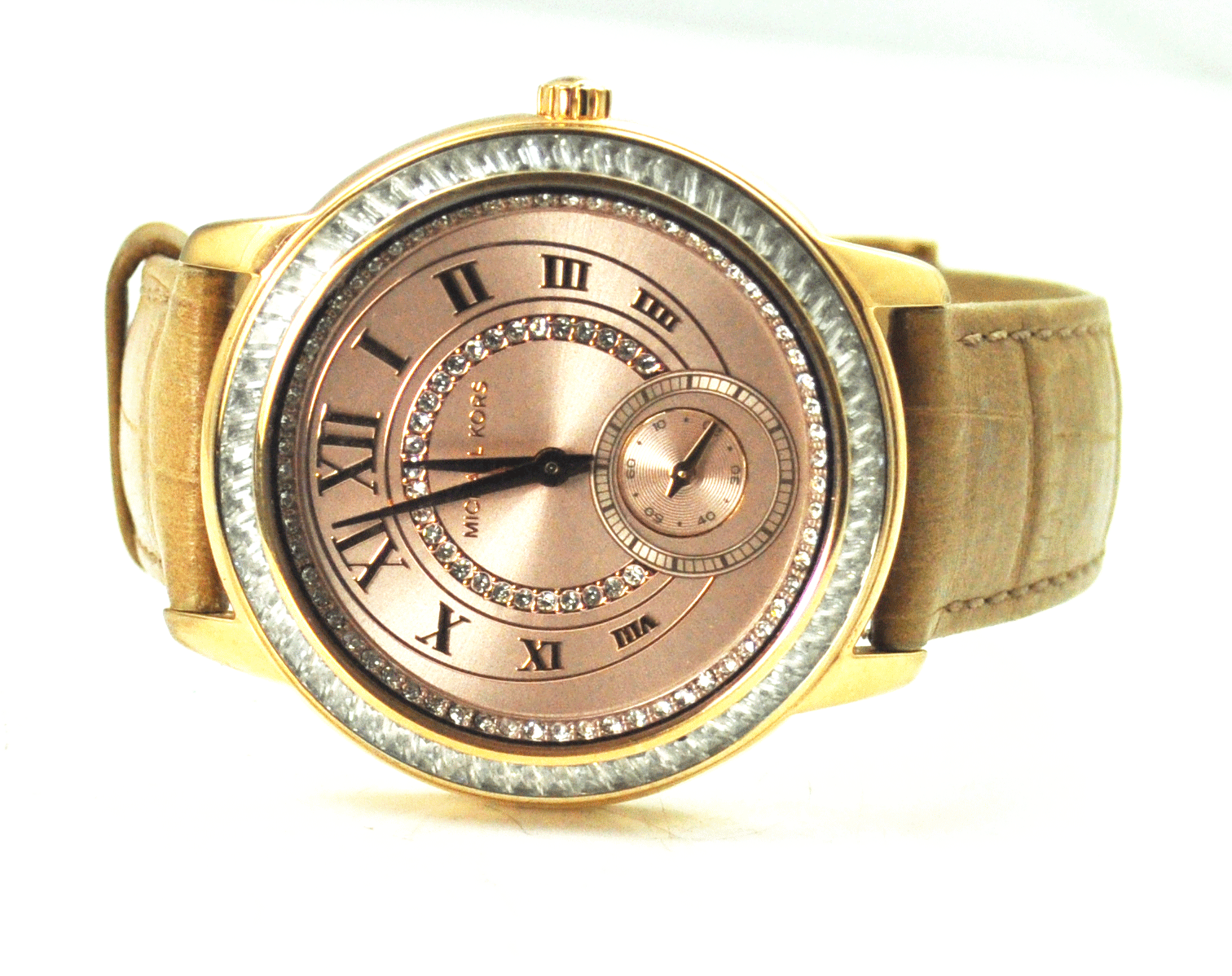 4465270ae3d2 Michael Kors Pink Metallic Roman Dial MK2448 39mm Wristwatch CZ Bezel   Dial  -  69.29