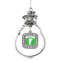 Inspired Silver Vermont Outline Classic Snowman Holiday Christmas Tree Ornament  - $14.69