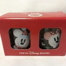 Tokyo Disney Land 25th Anniversary Mickey & Minnie Snow Snow Snowman Pair Glass  - $54.45
