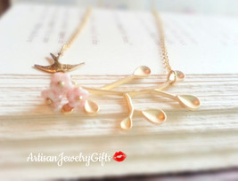 Gold Branch Necklace Pink Bell Flowers Gold Sparrow Necklace Woodland Ne... - $54.00+