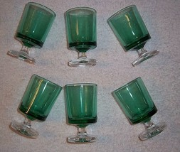 Emerald Green Clear Shot Glasses SET 6 Footed Party Celebration Made in ... - $16.82
