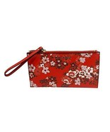 MICHAEL Michael Kors Jet Set Travel Floral Leather Large Zip Clutch Red - $113.85