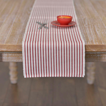 AUDREY RED Ribbed Runner - 13x90 - Crimson/White -Bengal Stripe- VHC Brands