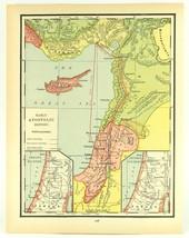 Vintage Biblical Map Early Apostolic History Colorful Rand McNally, 1938 - $11.00