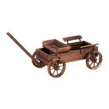 Standing Planter, Old World Wagon Decorative Rustic Patio Outdoor Plante... - $221.72