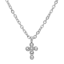 """PIATELLA Unisex Stainless Steel Cross necklace made with Swarovski Crystals 18"""" - $10.99"""