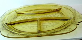 Federal Glass Madrid 4 Section Grill Plate Golden Glow 1934 - $49.01