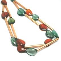 ROSE NECKLACE TWO WIRES AMBER GREEN ROUNDED DROPS OF MURANO GLASS TUBE ALTERNATE image 2