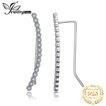 Cubic Zirconia Bar Hoop Earrings 925 Sterling Silver Earrings For Women ... - $14.43