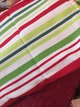 Stripe Tablecloth Target 54x 70 Red Green White Holiday Festive Cotton (... - $15.84