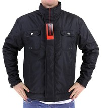 NEW MEN'S PREMIUM SECURITY ZIP UP WATER RESISTANT POLY JACKET BLACK B-H005