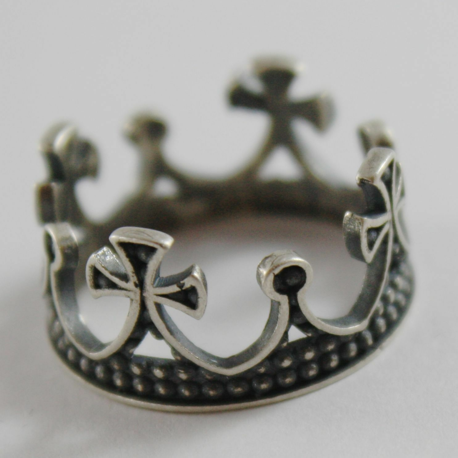 Silver Ring 925 Burnished to Crown Medieval Vintage Style Made in Italy
