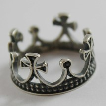 Silver Ring 925 Burnished to Crown Medieval Vintage Style Made in Italy image 1