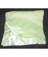 Carters Just One Year Solid Green Baby Blanket Minky Dot Bumpy Satin - $24.61
