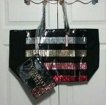 Victoria's Secret Sequin Striped Tote and Clutch - $37.00