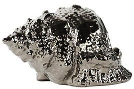 Urban Trends Ceramic Conch Seashell Figurine, Dimpled Polished Chrome Fi... - $26.04