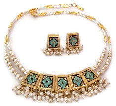 Indian Bridal Necklace GoldPlated Reversible Blue Maroon  White Pearl Jewelry S - $17.75
