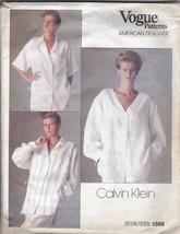 1980s Vogue American Designer 1509 Oversized Shirt by Calvin Klein Size 14 - $12.82