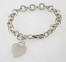 Tiffany & Co. Sterling Silver Blank Heart Tag Charm Bracelet Retails for $335 - $197.99