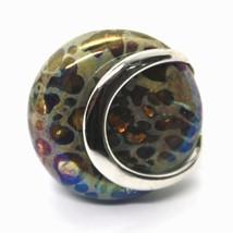 Ring Antica Murrina, Murano Glass, Disco Convex, Yellow Green Blue image 2