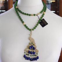 GREEN JADE, KYANITE 925 STERLING SILVER LONG NECKLACE AND BIG PEACOCK PENDANT image 3