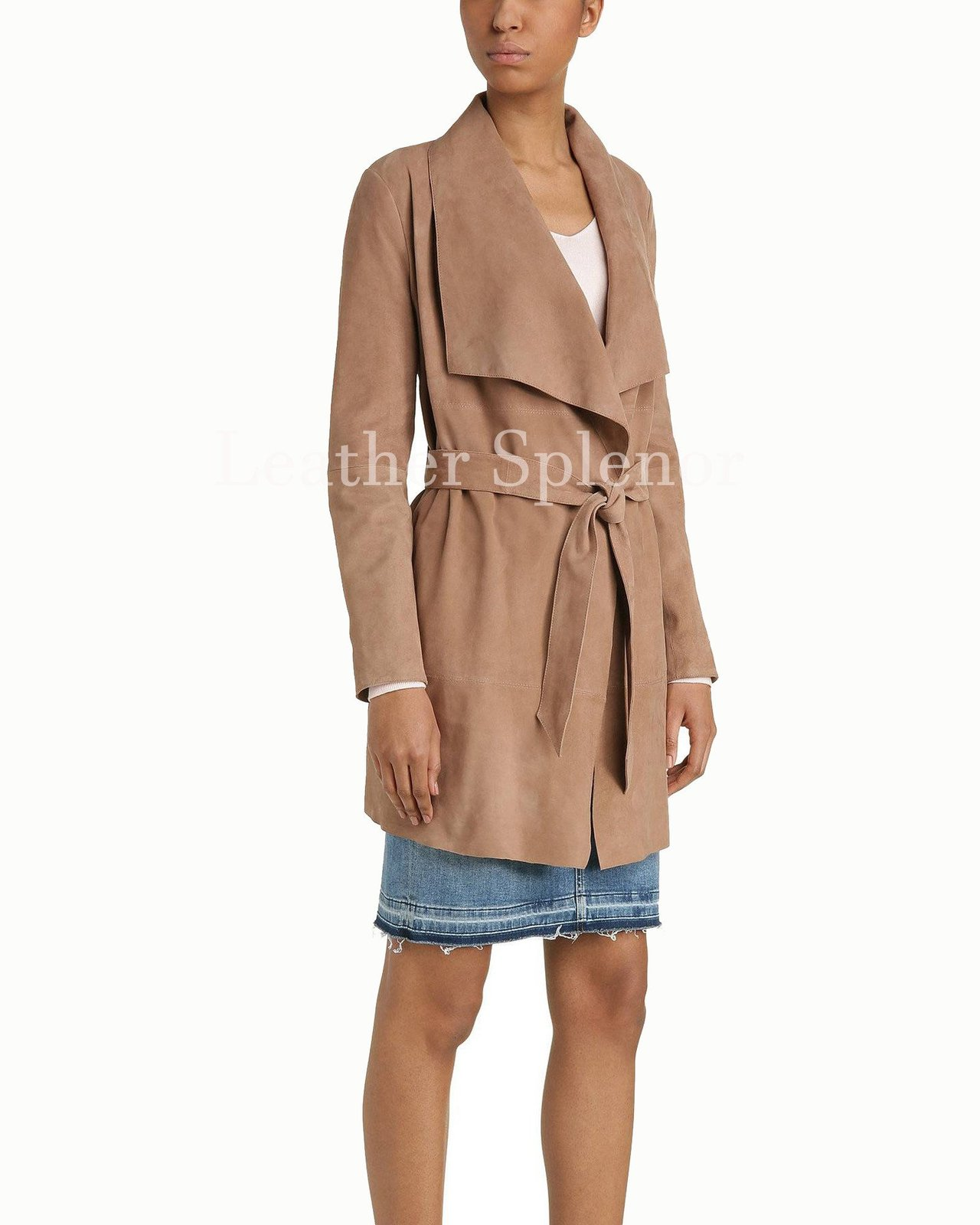 Trendy Women Belted Suede Leather Coat