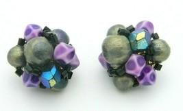 Japan Purple Blue Acrylic Bead Beaded Clip-On Earrings Vintage Gold Tone - $13.86