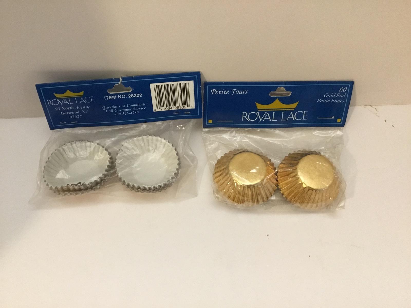 """Royal Lace Gold Foil Petit Fours, 1.5"""" baking cups 120 pcs - $4.90"""