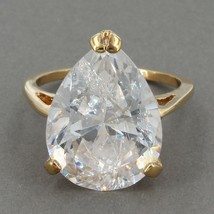 Uncas Gold Clad Sterling HUGE 15x20mm Pear CZ Solitaire Cocktail Ring Si... - $17.99