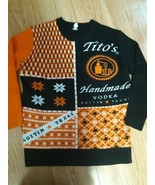 Titos Handmade Vodka Ugly Sweater Black and Orange Austin Texas Size XL Mens - $59.35