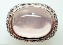 14k Gold Genuine Natural Cabochon Rose Quartz Ring with Tourmalines (#J2976) - $845.75