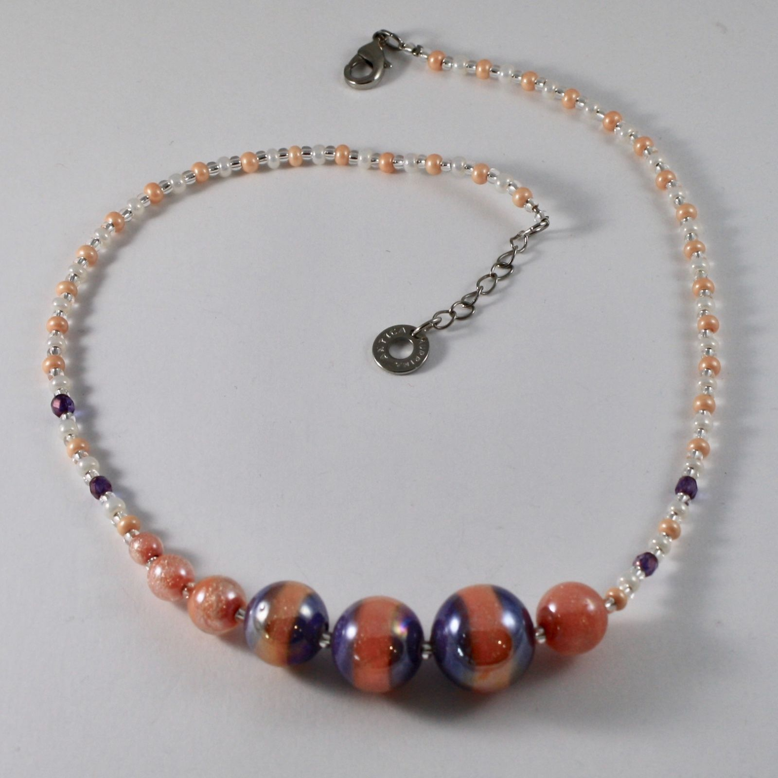 ANTICA MURRINA VENEZIA NECKLACE WITH ORANGE PURPLE MURANO GLASS BALLS 18 INCHES